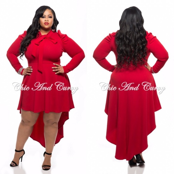 9b6258e7ab4df PLUS SIZE Red Long Sleeve High Low Bow Dress